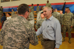 Senator Reed with Rhode Island troops