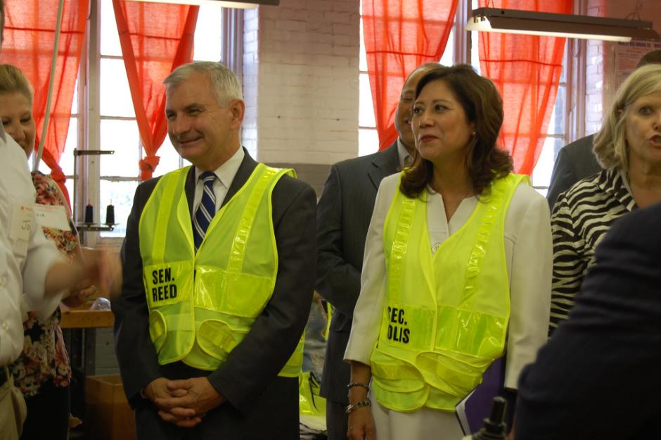 Reed, Secretary Solis Visit Safety Flag Co. in Central Falls