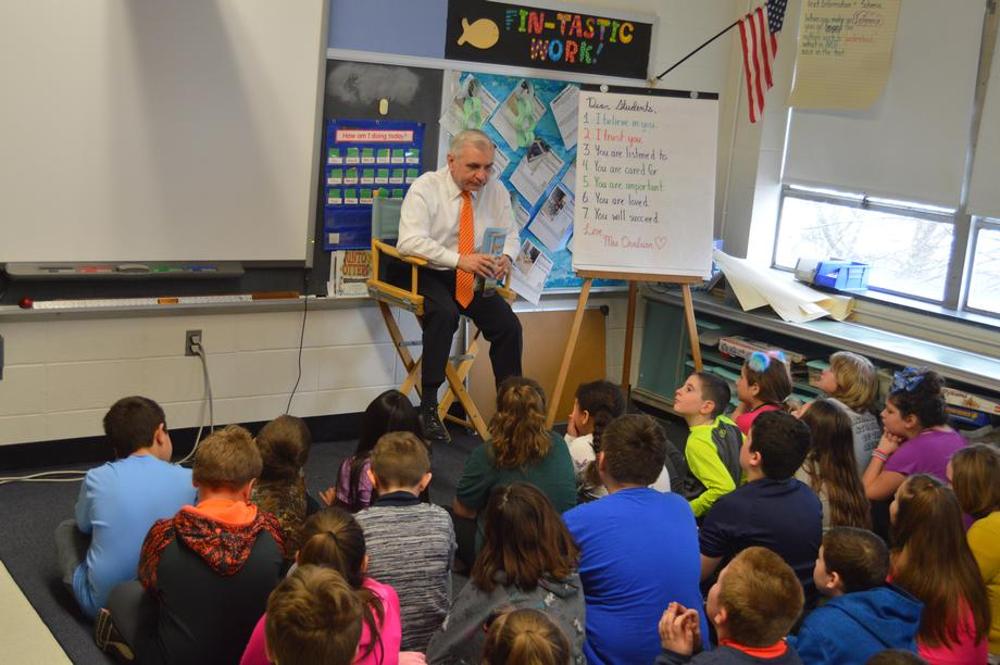 Reed Reads to Students at Ashaway Elementary School