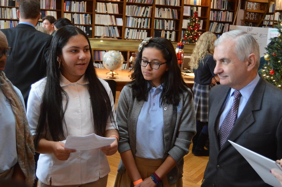Senator Reed Reviews Students' Projects for Civics Day Event