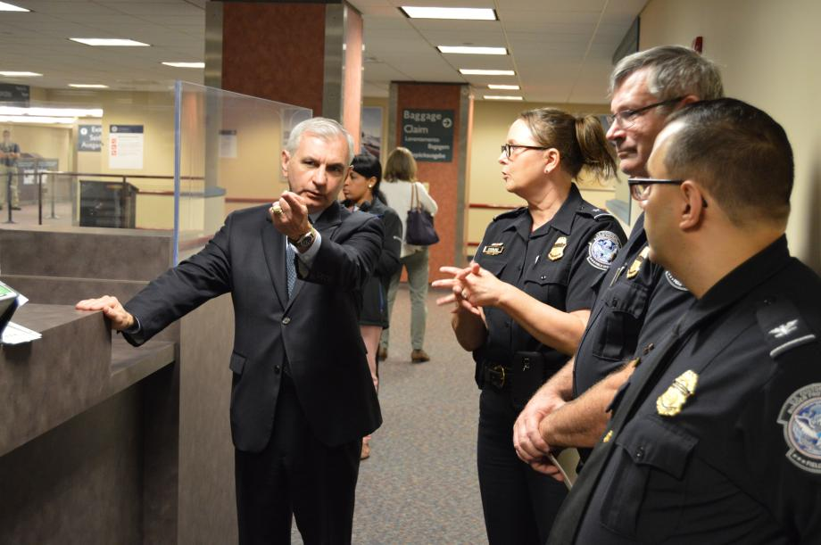 Reed & U.S. Customs and Border Protection Officials Preview Arrival Experience for International Travelers at T.F. Green