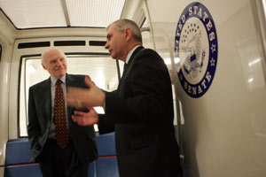 Senator Reed takes the Senate subway for a short ride from his office in the Hart Building to the U.S. Capitol. He and Sen. Herbert Kohl, D-Wisc., are on their way to a vote in the Senate. Journal photo / Mary Murphy