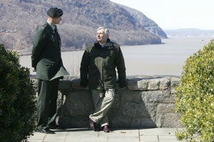 On a tour of his alma mater, along the wall at Trophy Point overlooking the Hudson River, Reed talks with Col. Joe Manous, a West Point professor. The senator himself taught social studies and economics at the academy in the late 1970s.