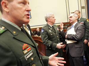 Sen. Jack Reed, right, talks to one of his West Point classmates, Brig Gen. Patrick Finnegan, now a dean at the academy. At left is Lt. Gen. Franklin L. Hagenbeck, the academy's superintendent. They gathered recently for a West Point Board of Visitors Meeting in Washington, D.C. Journal photo / Mary Murphy